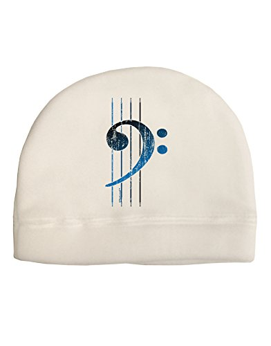 TooLoud Distressed Bass Strings Adult Fleece Beanie Cap Hat White