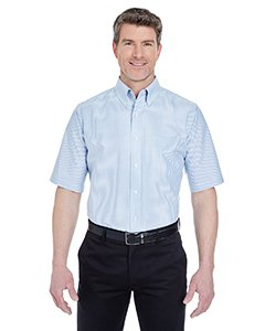 UltraClub Men's Classic Wrinkle-Free Short-Sleeve Oxford (Blue/White) (4XLarge)
