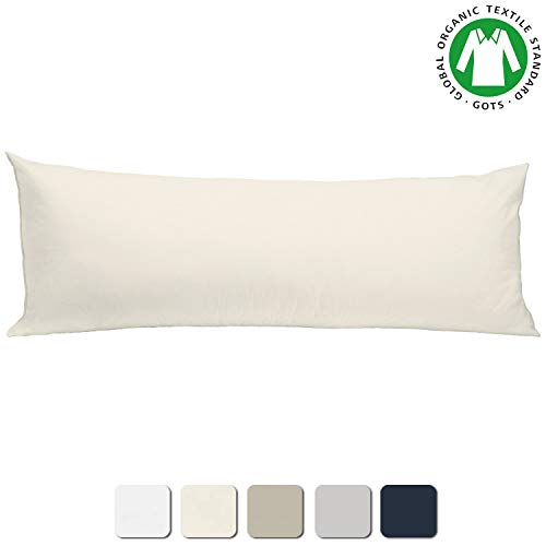 (BIOWEAVES 100% Organic Cotton Body Pillow Cover for Body Pillowcases 300 Thread Count Soft Sateen Weave GOTS Certified with Zipped Closure - 21