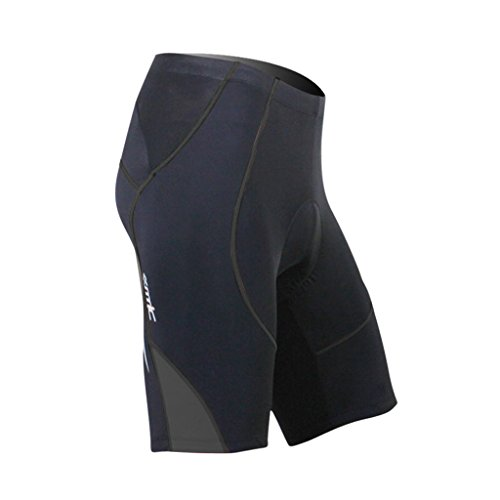 SANTIC Cycling Men's Shorts Biking Bicycle Bike Pants Half Pants 4D COOLMAX Padded Black/Gray L