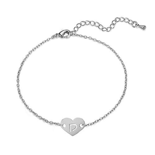 YANCHUN Silver Initial Bracelet Stainless Steel Engraved Heart Pendant 26 Letters Alphabet Bracelet for Women (D)