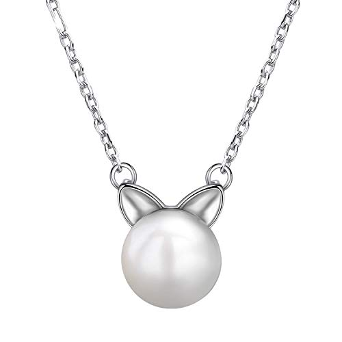 - Round Freshwater Pearl Ball Pendant Necklace Women Link Chain Animal Ear Charm Necklace Collar