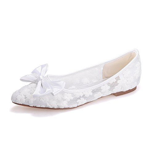 Ellenhouse Pointed Toe Lace Bridal Pumps Flat EH030 Heels Heel White Womens Shoes ZnwZgxU