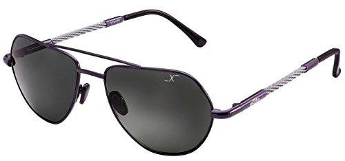 Xezo Freelancer tamaño UV 400Vidrio auténtico Titanio y Cable de Acero polarizadas anteojos de Sol de Alambre, Grande,...