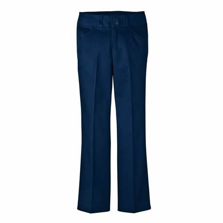 Dickies KP7715 Junior's Stretch Wide Band Bootcut Pant Dark Navy Size 13