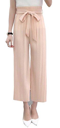 Donna Pantaloni Estivi Pantaloni Larghi Multistrato Cintura Inclusa Nahen Taille Vita Elastica Cute Chic Baggy Tempo Libero Pantaloni Dritti Accogliente Tendenza Lunga Trousers Giovane Modern Stile Rosa