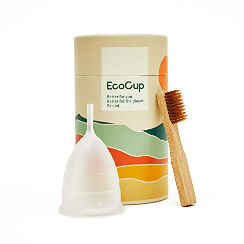 EcoCup Menstrual Cup - Soft Reusable Period Cup - Eco-Friendly - 12hr Wear - Includes Cup Cleaning Bamboo Brush - Tampon and Pad Alternative Menstrual Cups (Size 2)