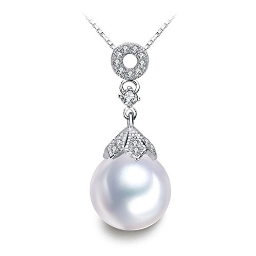 MITUO Geometry Round Shell Pearl Necklace Marquis For Women Gift(White) ()