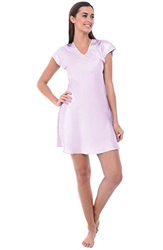 Polyester Nightgown (Alexander Del Rossa Womens Satin Nightgown, Wide V-neck Short Sleeved Nightie, Large Iris (A0790IRSLG))