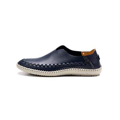 Arrondi Sports Chaussures Cuir Hommes zmlsc Casual Bande Business Hiver Printemps Pointu Doux Couleur Été Blue Automne HaSYwqU