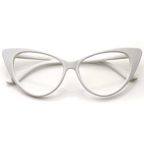zeroUV - Super Cat Eye Glasses Vintage Inspired Mod Fashion Clear Lens Eyewear (White) - Clear Cat Eye Glasses