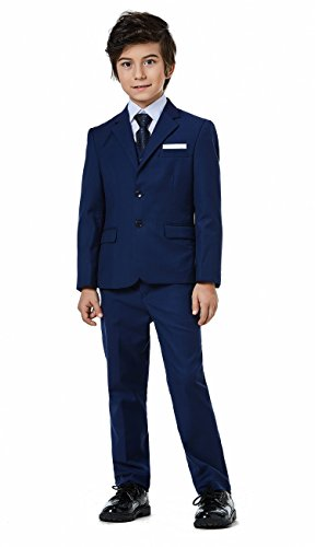 Boys Classic Formal Dress Suits Set 5 Piece Slim Fit Dresswear Suit (8, Navy Blue 2) by WQI.HAN (Image #1)