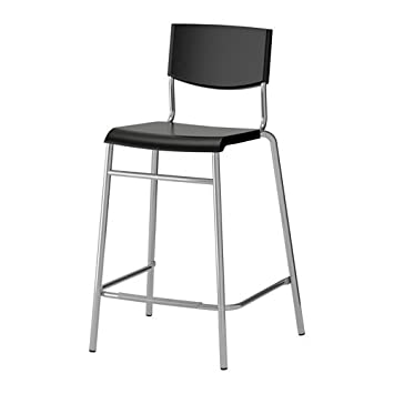 low priced 7b143 a83c5 Ikea Bar stool with backrest, black, silver color 1824.17178.222