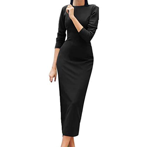 kaifongfu Womens Bodycon Dress Long Sleeve Maxi Ladies Evening Cocktail Dress(Black,L -