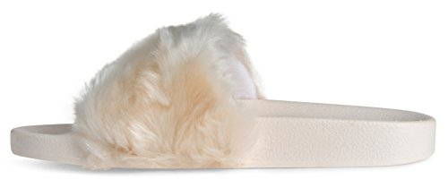 Toe Street LUSTHAVE Flip Sandals On Fur Open Slippers Slip Slide Flop Fashion Beige On qw5wSB