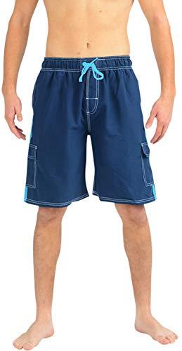NORTY Swim - Mens Swim Suit, Navy, Turquoise 39956-Small -