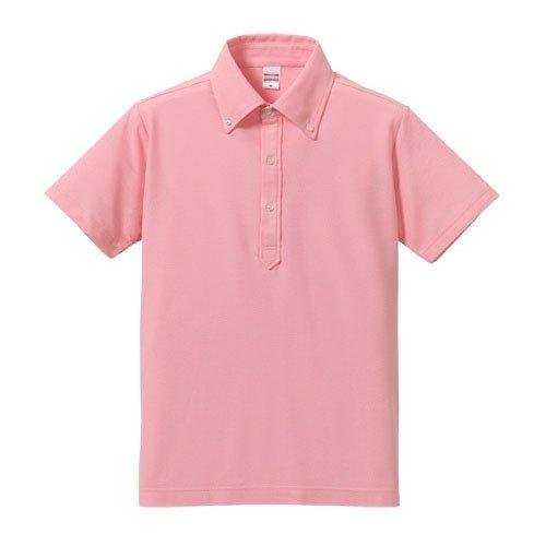【サンタリート】 Santareet 吸水 速乾 + 消臭仕様 ボタンダウン ゴルフ ポロシャツ L ピンク