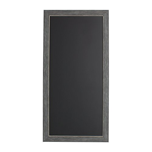 DesignOvation Wyeth Framed Burlap Pockets Wall Organization Board, Gray