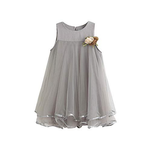 Baby Girl Chiffon Dresses Sleeveless Drape Dress+Brooch Big Skirt Vest Plus Corsage Princess Dress (5T, Gray)