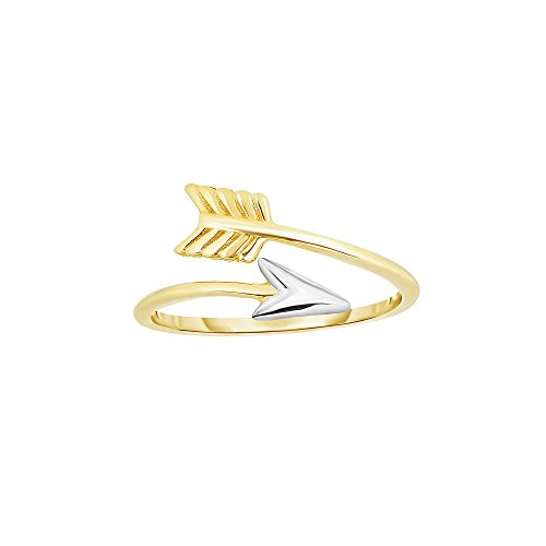 14k Yellow Gold Size 7 Rohdium Finish Twisted Arrow Ring by Diamond Sphere