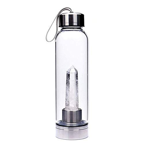 AhMi Weiß e natü rliche Kristallstab-Wasser-Flasche Edelstein-Obelisk-Quarz-Wasserflasche