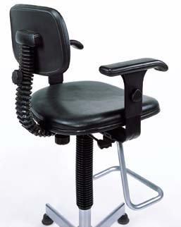 Nexel Office Stool with Teardrop Footrest and Adjustable T-Arms, Black Vinyl