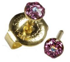 New Baby Short Post October Rose AB Crystal 24 ct. Gold Plate Daisy Personal Piercer 3 mm Ear Piercing Earrings Studex System 75