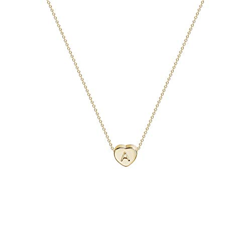 Tiny Gold Initial Heart Necklace-14K Gold Filled Handmade Dainty Personalized Letter Heart Choker Necklace Gift For…