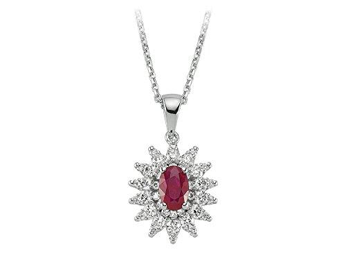 Pendentif Rubis et Diamants-Femme- or Blanc 204P0093