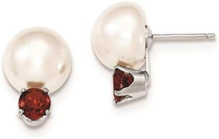 925 Sterling Silver 10-11mm Freshwater Cultured Button Pearl & Garnet Post Earrings 11mm x 16mm
