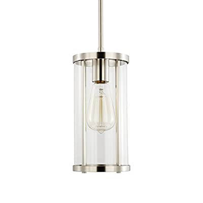 Light Society Zurich Cylindrical Pendant Light, Clear Glass with Satin Nickel Finish, Contemporary Modern Industrial Lighting Fixture (LS-C250-SN)