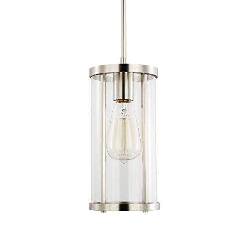 - Light Society Zurich Cylindrical Pendant Light, Clear Glass with Satin Nickel Finish, Contemporary Modern Industrial Lighting Fixture (LS-C250-SN)