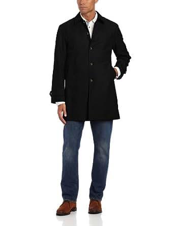 Tommy Hilfiger Men's Single Breasted Raincoat, Black, 40 Large