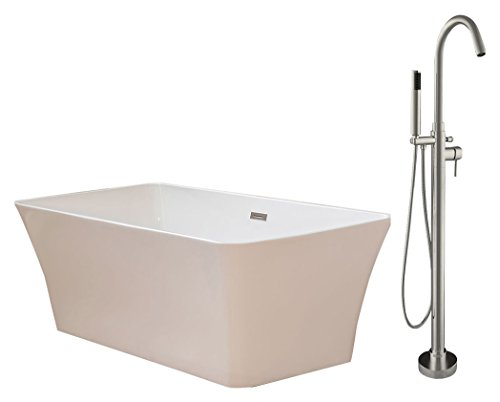 Woodbridge BTA-1609-B-0004+F0001, 67'' Acrylic Freestanding Bathtub Contemporary Soaking Tub B-0004 with Brushed Nickel Faucet F0001 by Woodbridge