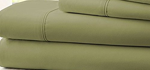 Hotel Comfort Count Deep Pocket 4 Piece Bed Sheet Set Green TWIN - Banner Reviews Mattress