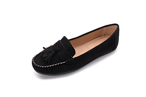 Mlia Lady Womens Casual Slip On Loafer Moccasins Flats Driving & Walking Shoes Yvonne01 Black/Suede 7.5