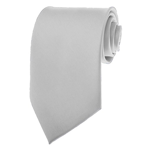 BRAND NEW Mens Necktie SOLID SILVER Satin Neck TIE
