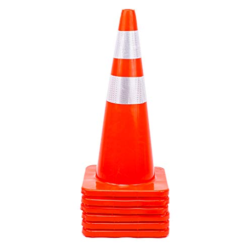 6 Cones 28'' Orange Traffic Safety Cone with Reflective Collar Road Packing PVC Plastic(Set of 6) by DOKIO (Image #4)