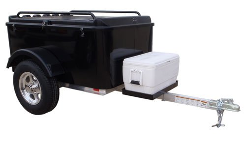 (Hybrid Trailer Co. Vacationer with Cooler Tray - Enclosed Cargo Trailer, 990 lbs. Gross, 30 cu/ft. - Biker Black)