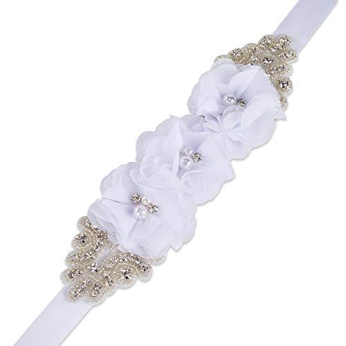 SISJULY Women's Handmade Pearls Flower Bridal Belts Beaded Wedding Sashes for Gowns Off-white