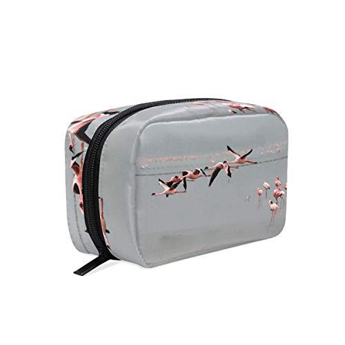 Lesser Flamingos Flying Makeup Bag Organizer Portable Cosmetic Pouch Handbag With Zipper For Women Purse