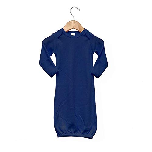 Laughing Giraffe Baby Infant Blank Long Sleeve Sleeper Gown with Mitten Cuffs (0-3M, Navy)