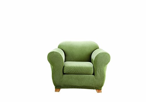 Sure Fit Stretch Stripe 2-Piece - Chair Slipcover  - Sage (SF37719) (Upholstery Arm Chair Sage)