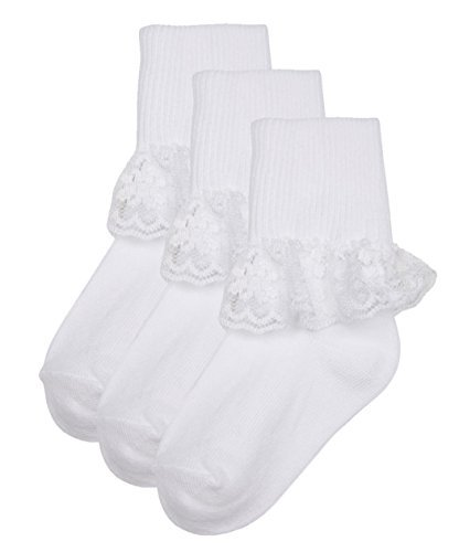 (Trimfit Baby Girls Single Lace On Cotton Cuff Socks 3-Pack (Large (3-5 Years), White))