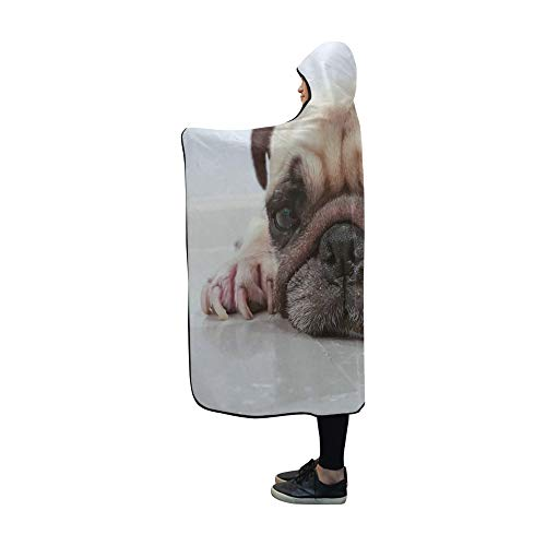 YUMOING Hooded Blanket Cute Dog Puppy Pug Sleep by Blanket 60x50 Inch Comfotable Hooded Throw Wrap ()