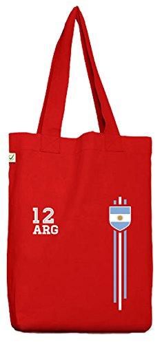 ShirtStreet Argentinia Soccer World Cup Fussball WM Fanfest Gruppen Bio Baumwoll Jutebeutel Stoffbeutel Streifen Trikot Argentinien Red fmMD3