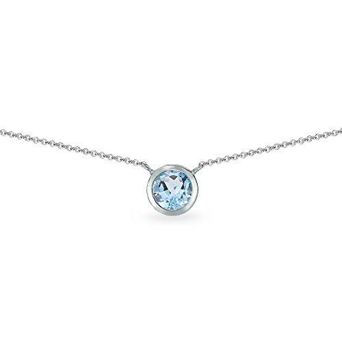Bezel Stud Necklace (Sterling Silver Blue Topaz 6mm Round Bezel-Set Dainty Choker Necklace)