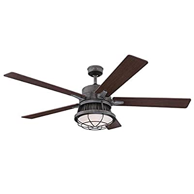 Westinghouse Lighting Westinghouse 7220400 Chambers 60-Inch Distressed Aluminum Indoor, Dimmable LED Light Kit, Opal Frosted Glass, Removable Cage, Remote Control Ceiling Fan