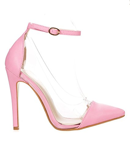 Liliana Womens Olga 1a Pointed Toe Lucite Panel Ankle Strap Heels Pink-PU 9KcnRoYwZ
