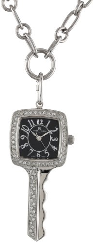 Charles-Hubert, Paris Women's 6720-B Key-Shape Swarovski Crystal Steel Pendant - Hubert Charles Pendant Watch